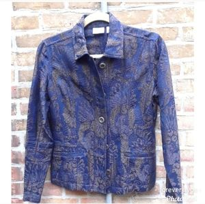 - chico's jacquard  patterned jacket